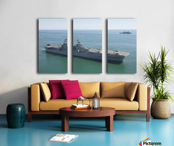 USS Wasp and USS San Antonio transit in formation in the Atlantic Ocean. Split Canvas print