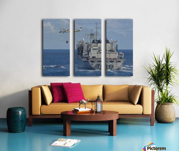 An MH-60S Sea Hawk conducts a vertical replenishment with USNS Bridge. Split Canvas print