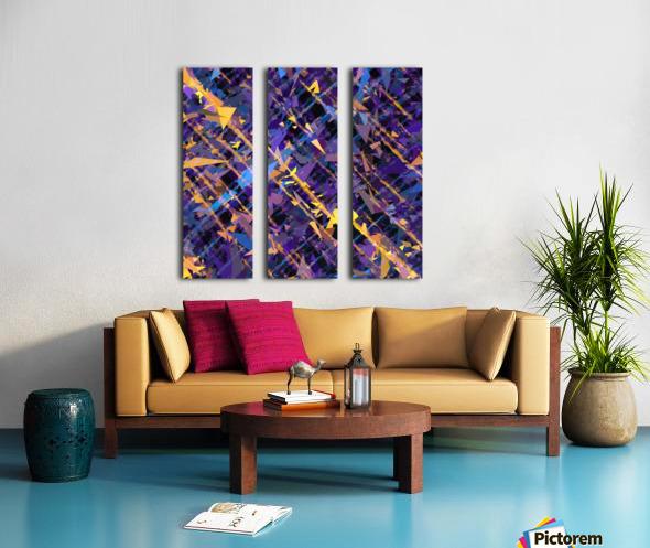 splash geometric triangle pattern abstract background in blue purple yellow Split Canvas print