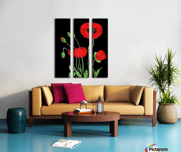 Red Poppy Flowers Watercolor Split Canvas print