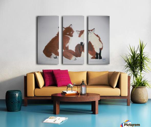 Red Fox pair Split Canvas print
