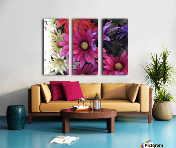 Rainbow of flowers Split Canvas print