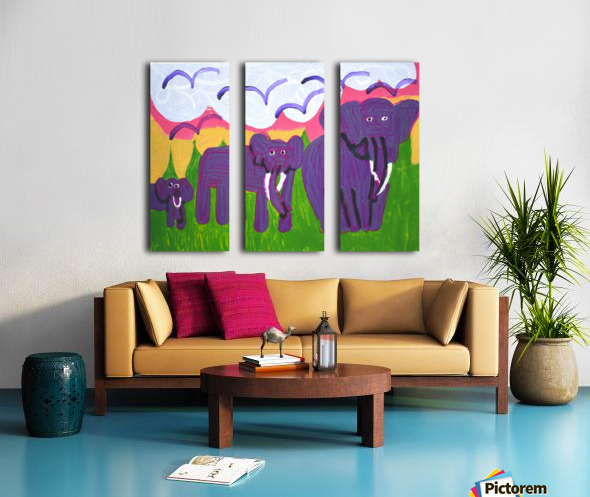 Purple Elephants. Michael D. Split Canvas print