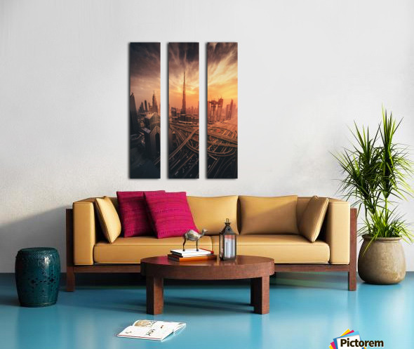 Dubai's Fiery sunset Split Canvas print