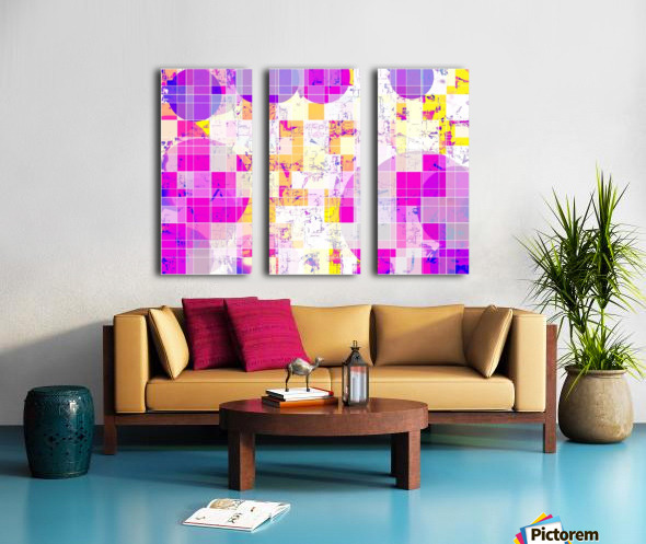 geometric square and circle pattern abstract in pink purple yellow Split Canvas print
