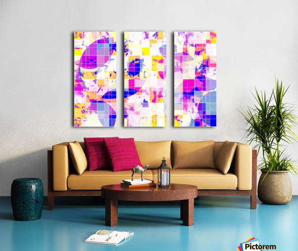 geometric square and circle pattern abstract in pink blue yellow Split Canvas print