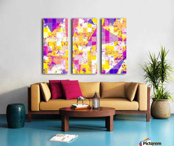 geometric square and triangle pattern abstract in pink yellow blue Split Canvas print
