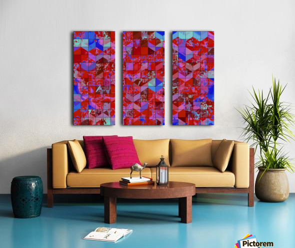 geometric square and triangle pattern abstract in red and blue Split Canvas print