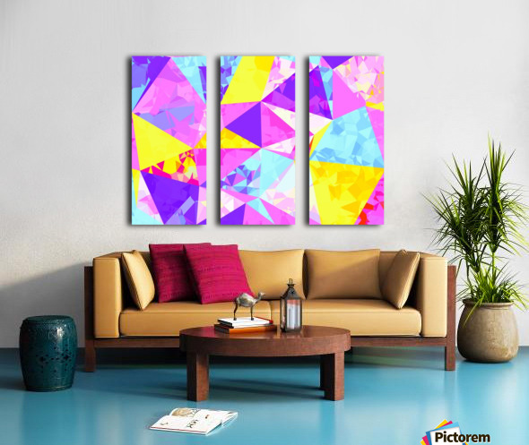 geometric triangle polygon pattern abstract in pink purple blue yellow Split Canvas print