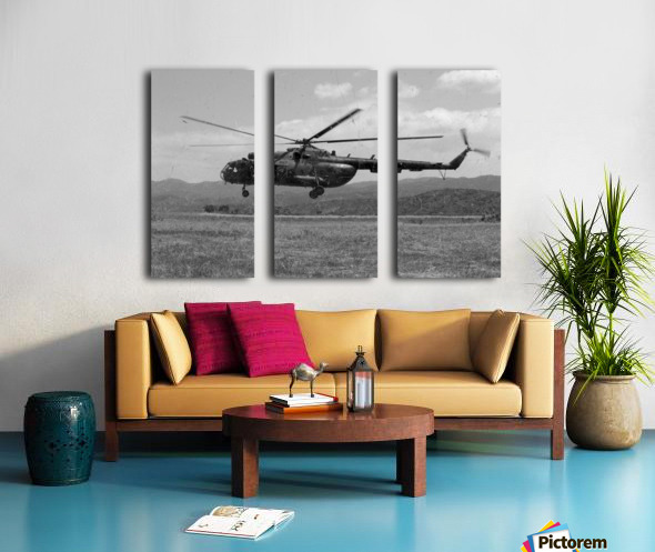 A Macedonian MI-17 helicopter landing as part of a medical transport flight. Split Canvas print