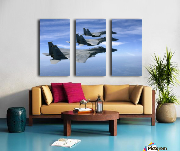 The F-15 Eagles final training mission over the the Atlantic Ocean. Split Canvas print