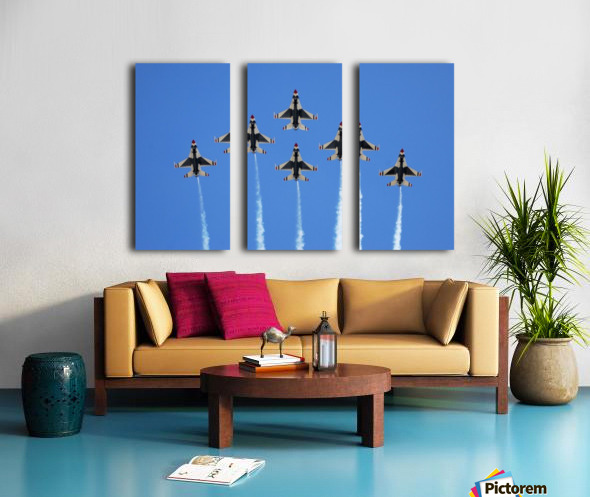 The U.S. Air Force Thunderbirds perform a 6-ship formation flyby during an air show. Split Canvas print