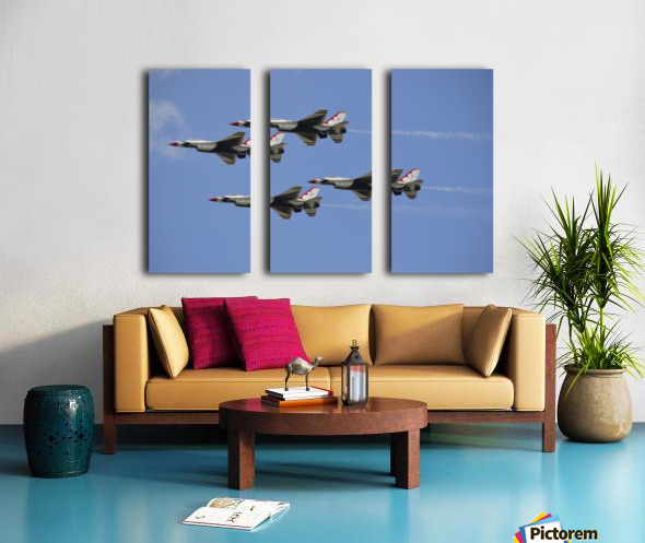 The U.S. Air Force Thunderbirds fly in formation. Split Canvas print