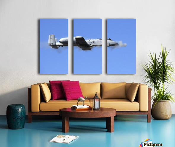 A pilot in an A-10 Thunderbolt II fires the planes 30-mm cannon. Split Canvas print