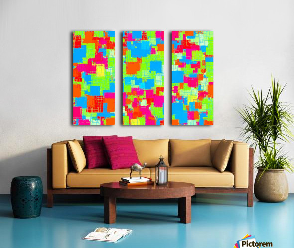 geometric square pattern abstract in green blue pink Split Canvas print