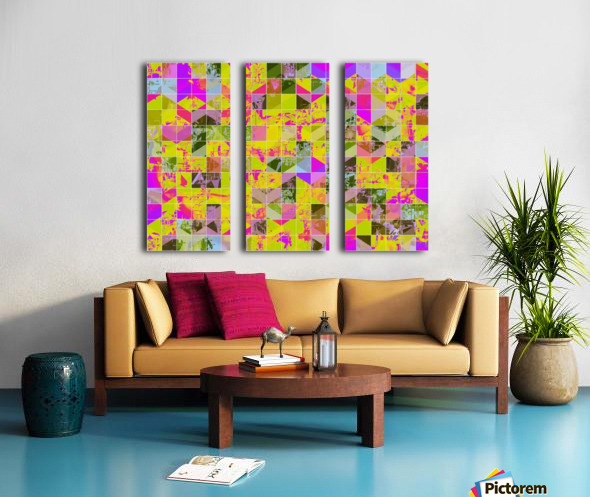 geometric square pattern abstract in yellow green pink Split Canvas print