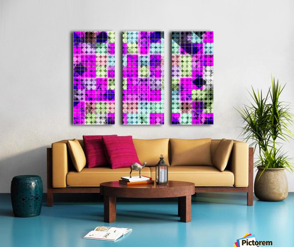geometric square and circle pattern abstract in pink blue Split Canvas print