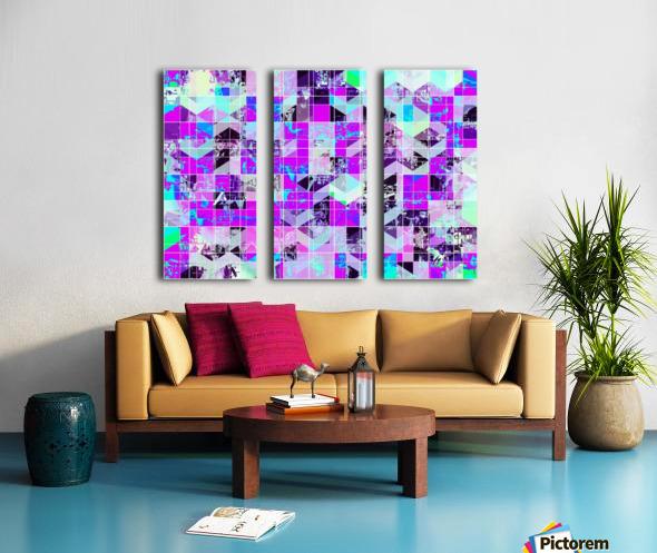 geometric square pattern abstract in purple blue Split Canvas print