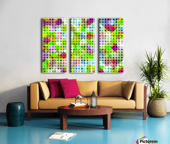 geometric square and circle pattern abstract in green pink Split Canvas print