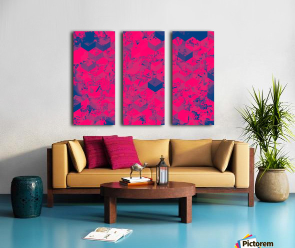 geometric square pattern abstract in pink blue Split Canvas print