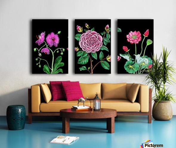 Camellia Orchid Lotus Flowers Watercolor On Black Split Canvas print