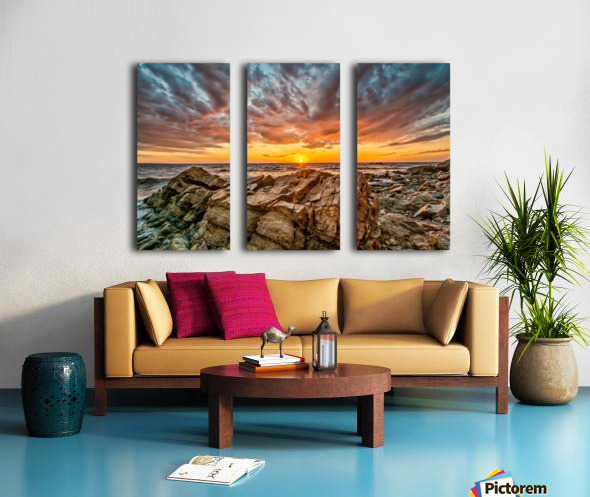 Rocks and Sunset Split Canvas print