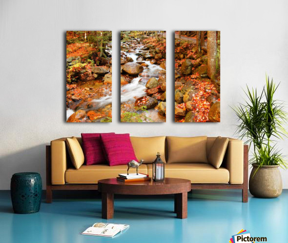 New England autumn stream Split Canvas print