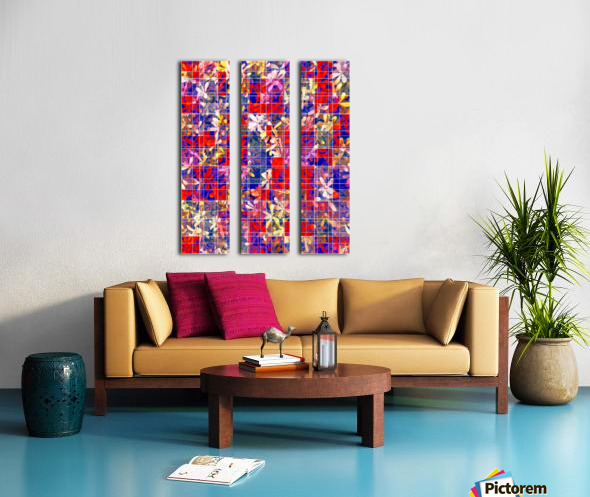 blooming flower with square pattern abstract in red and blue Split Canvas print