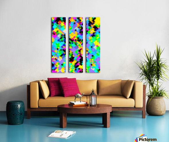 geometric square pixel pattern abstract in blue green yellow pink Split Canvas print