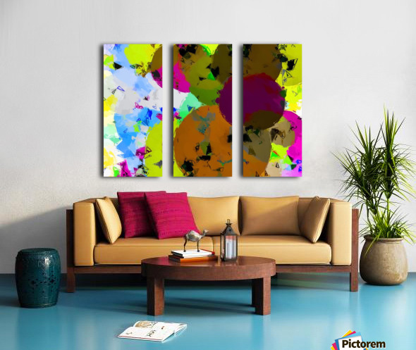 geometric circle pattern abstract in yellow brown pink green Split Canvas print