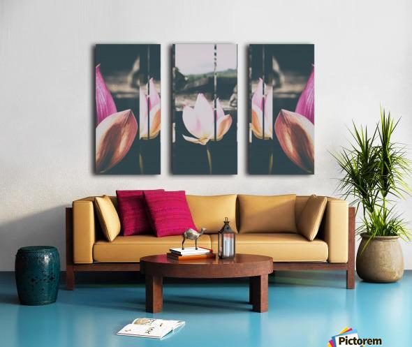 Pink Lotus Collage Split Canvas print