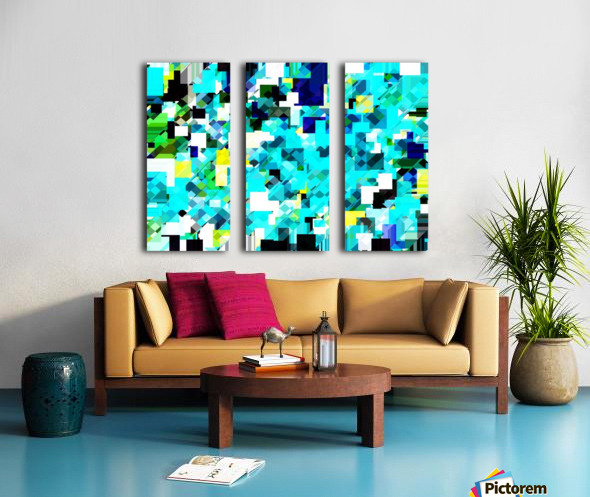 geometric square pixel pattern abstract in blue and yellow Split Canvas print