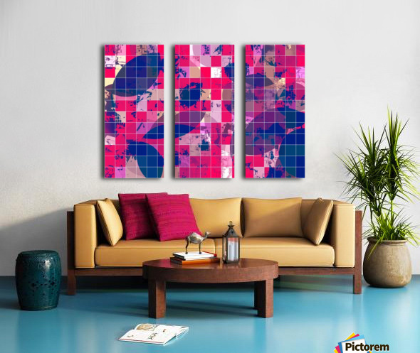 geometric square and circle pattern abstract background in red pink blue Split Canvas print