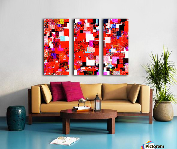 geometric square pixel pattern abstract in red blue pink Split Canvas print