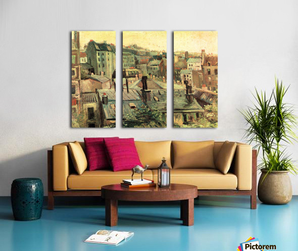 Overlooking the rooftops of Paris by Van Gogh Split Canvas print