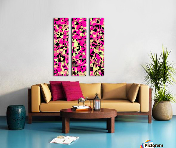 geometric triangle pattern abstract in pink and black Split Canvas print