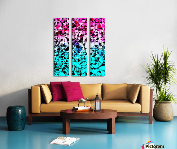 geometric triangle pattern abstract in pink blue black Split Canvas print