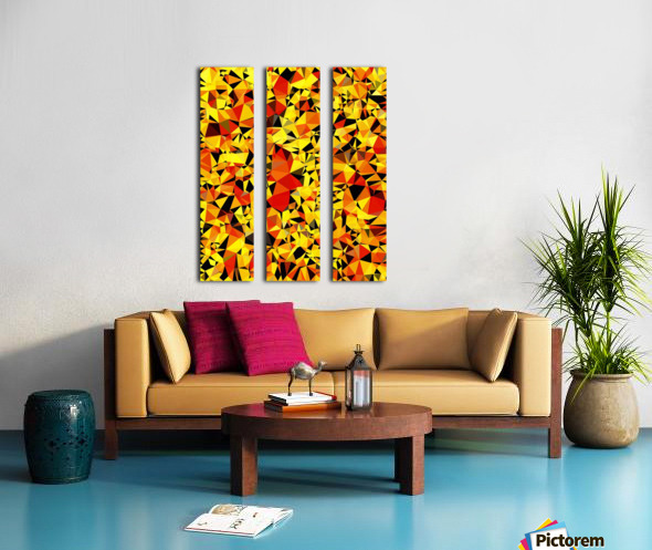 geometric triangle pattern abstract in orange yellow red Split Canvas print