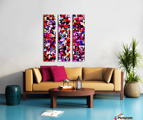 geometric triangle pattern abstract in red pink black blue Split Canvas print