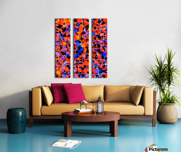 geometric triangle pattern abstract in blue orange red Split Canvas print