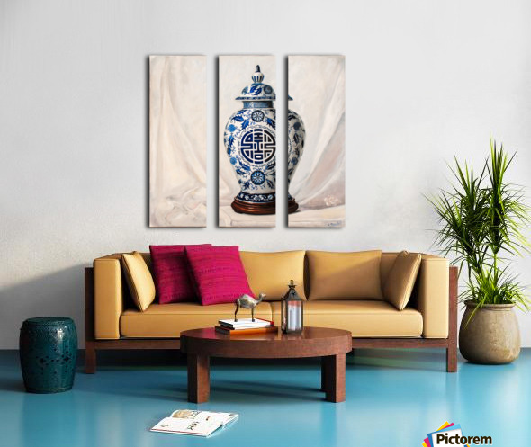 Blue and white vase  Split Canvas print
