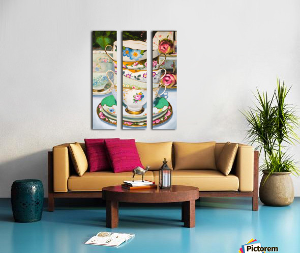 Cups and roses  still life oil painting  Split Canvas print