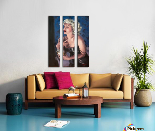 Marilyn in CHANEL 5 oil painting portrait 1 Split Canvas print
