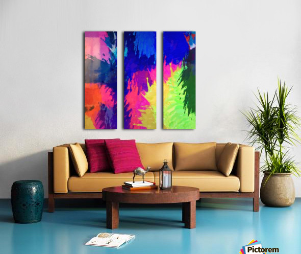 painting texture abstract background in blue pink yellow green Split Canvas print