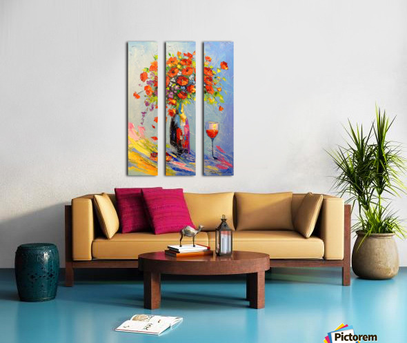 Holiday with a bouquet Split Canvas print