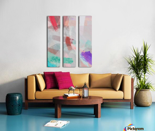 brush painting texture abstract background in red pink purple green Split Canvas print