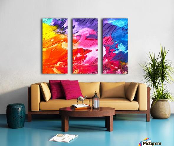 abstract, art, background, paint, texture, colorful, red, color, blue, watercolor, design, canvas, artistic, yellow, blot, Split Canvas print