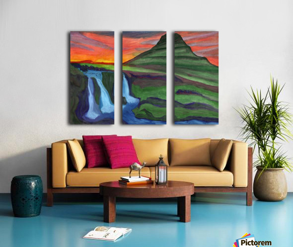 Mountain And Waterfall In The Rays Of The Setting Sun Split Canvas print