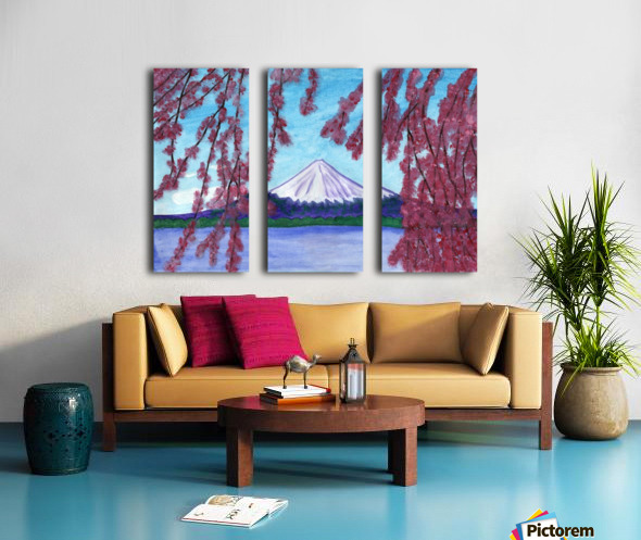 Sakura blooming on the background of a snowy mountain Split Canvas print