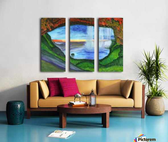 View from the cave to the waterfall Split Canvas print